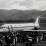"""Llegada del primer jet de LACSA, BAC 1-111 400, TI-1056C, """"El Tico"""""""
